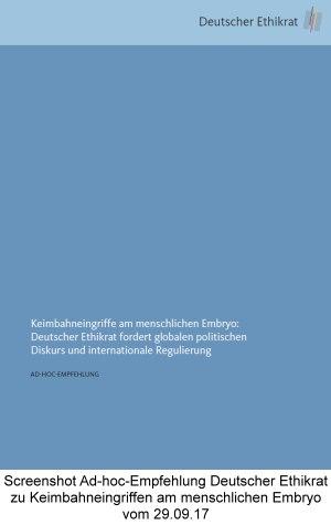 Screenshot Ad-hoc-Empfehlung Deutscher Ethikrat zu Keimbahneingriffen am menschlichen Embryo vom 29.09.17