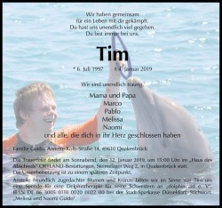 Todesanzeige zu Tim