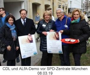 Protest der CDL und ALfA am 08.03.19 gegen SPD-Ehrung für zwei Abtreibungsärzte