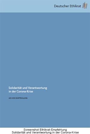 """Ethikrat Ad-hoc-Empfehlung """"Solidarität und Verantwortung in der Corona-Krise"""" vom 27.03.2020"""