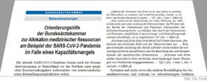 Bundesärztekammer Orientierungshilfe zur Allokation medizinischer Leistungen im Falle eines Kapazitätenmangels