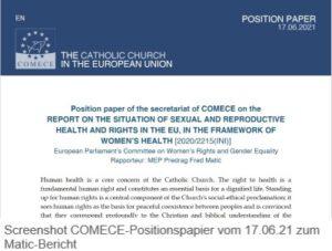 Positionspapier Sekretariat der Kommission der Bischofskonferenzen der Europäischen Union (COMECE) zum Matic-Bericht vom 17.06.2021